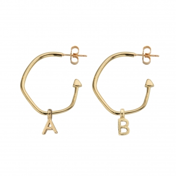 Gold Maxi Cupid Hoops with Alphabet Charms