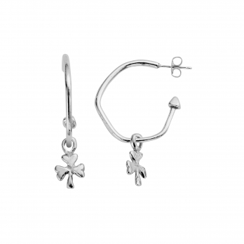 Maxi Cupid Hoops With Baby Shamrock Charms detailed
