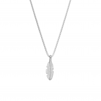 Silver Medium Feather Snake Chain Necklace