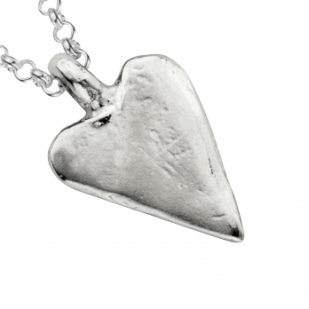 Silver Medium Heart Necklace detailed