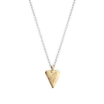 Silver & Gold Medium Heart Necklace