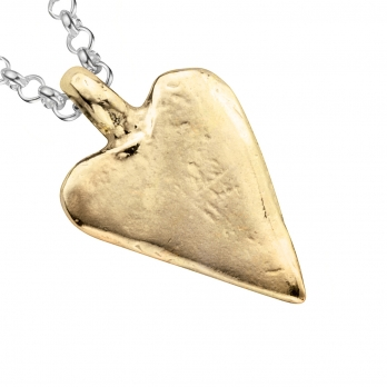 Silver & Gold Medium Heart Necklace detailed