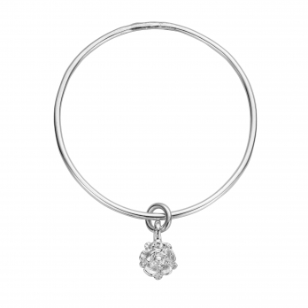 Silver Medium Yorkshire Rose Bangle