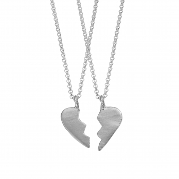 Silver Midi Best Friend Split Heart Necklaces