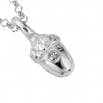 Silver Medium Bowness Acorn Necklace detailed