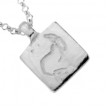 Silver Medium Capricorn Horoscope Necklace detailed