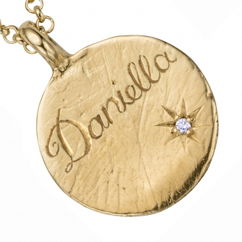 Personalised Gold Midnight Moon Necklace detailed