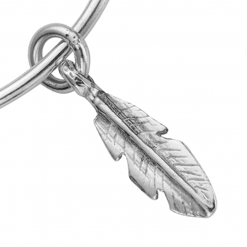 Silver Medium Feather Bangle detailed