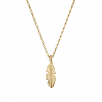 Gold Medium Feather Necklace