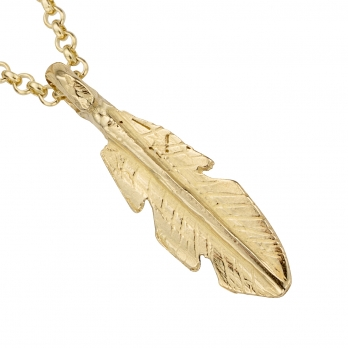 Gold Medium Feather Necklace detailed