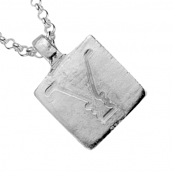 Silver Medium Gemini Horoscope Necklace detailed