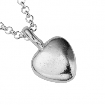 Silver Midi Grateful Heart Necklace detailed