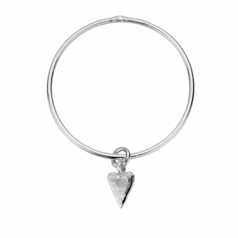 Silver Medium Heart Bangle