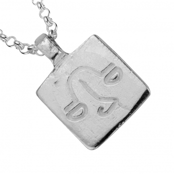 Silver Medium Libra Horoscope Necklace detailed