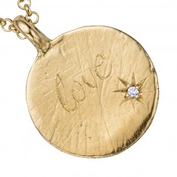 Gold Diamond Midnight Moon Necklace detailed