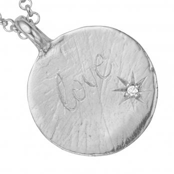 Silver Diamond Midnight Moon Necklace detailed