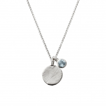 Silver Moon & Stone Aquamarine Necklace