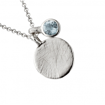 Silver Moon & Stone Aquamarine Necklace detailed