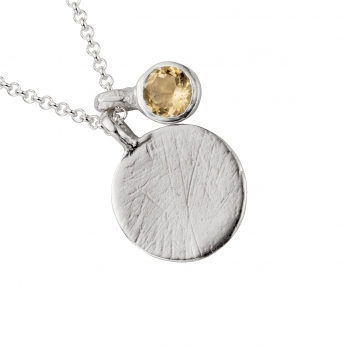 Silver Citrine Moon & Stone Necklace detailed