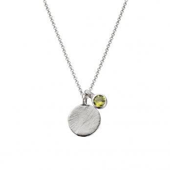 Silver Moon & Stone Peridot Necklace