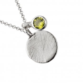 Silver Moon & Stone Peridot Necklace detailed