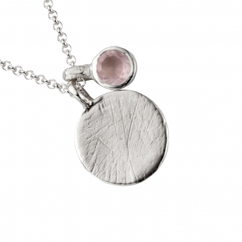 Silver Rose Quartz Moon & Stone Necklace detailed