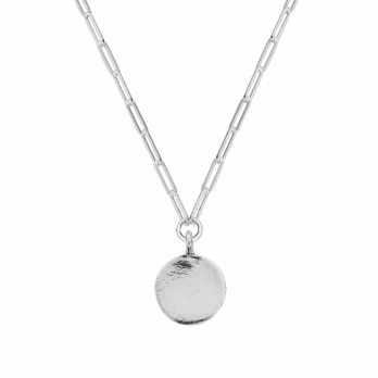Silver Large Moon Trace Chain Necklace
