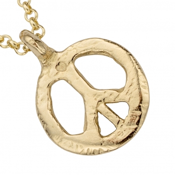 Gold Medium Peace Necklace detailed