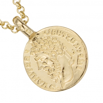 Gold Medium Roman Coin Necklace detailed