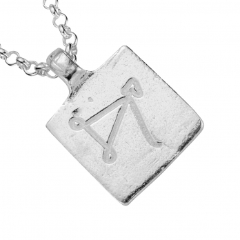 Silver Medium Sagittarius Horoscope Necklace detailed