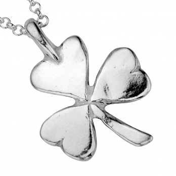Silver Large Shamrock Necklace detailed