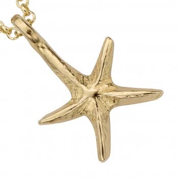 Gold Medium Starfish Necklace detailed