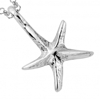 Silver Medium Starfish Necklace detailed