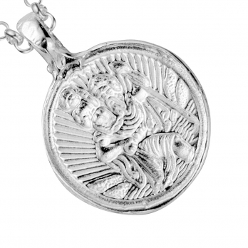 Silver Medium St Christopher Necklace detailed