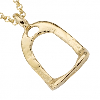 Gold Medium Stirrup Necklace detailed