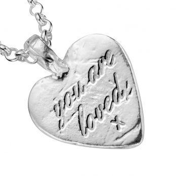 Silver Medium You Are Loved Necklace detailed