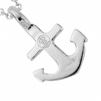 Silver Mini Anchor Necklace detailed