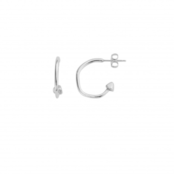 Silver Mini Cupid Hoop Earrings detailed