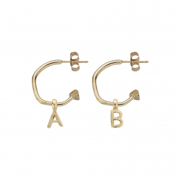 Gold Mini Cupid Hoops with Alphabet Charms