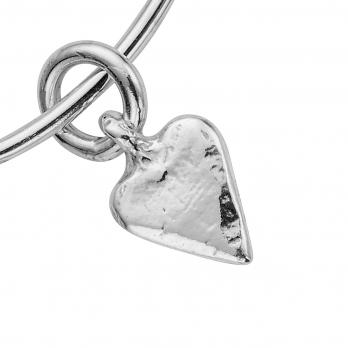 Silver Mini Heart Bangle detailed