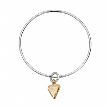 Silver & Gold Mini Heart Bangle