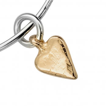 Silver & Gold Mini Heart Bangle detailed