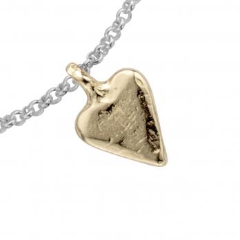 Silver & Gold Mini Heart Chain Bracelet detailed