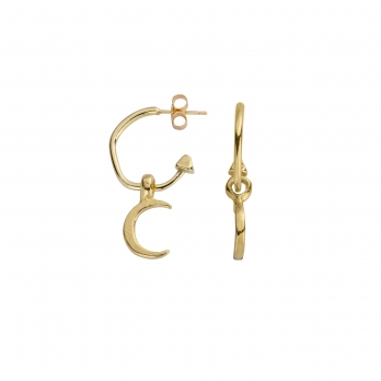 Gold Mini Cupid Hoops With Mini Crescent Moon Charms detailed