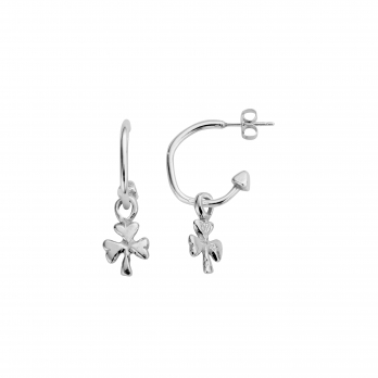 Mini Cupid Hoops With Baby Shamrock Charms detailed