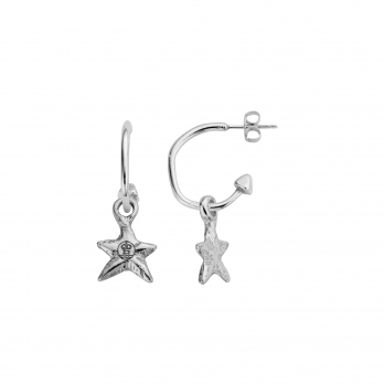 Mini Cupid Hoops With Mini Star Charms detailed