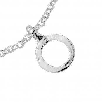 Silver Mini Open Circle Chain Bracelet detailed