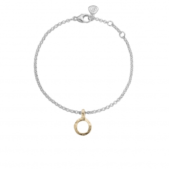 Silver & Gold Mini Open Circle Chain Bracelet