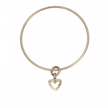Gold Mini Open Heart Bangle