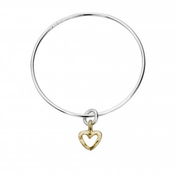 Silver & Gold Mini Open Heart Bangle